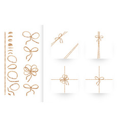 set of ribbons bows with rope and twines vector image