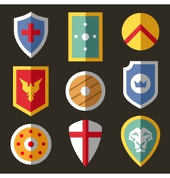Shield flat icons for game vector image vector image