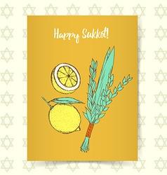 Sketch Sukkot poster vector image vector image