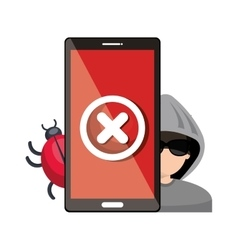 smartphone virus hacker alert design graphic vector image