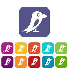 Social network bird icons set vector