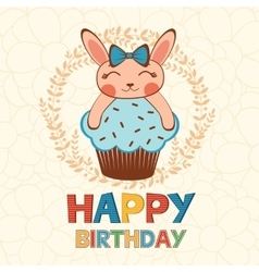 Stylish happy birthday card with cute little vector