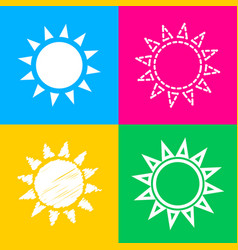 Sun sign four styles of icon on four vector