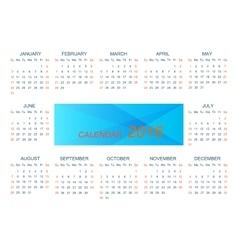 Template calendar 2016 week starts with vector