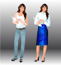 two woman vector image vector image