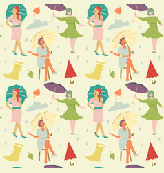 vintage fashion seamless pattern faceless women vector image vector image