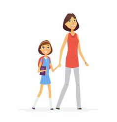 Walk to school- modern people characters vector
