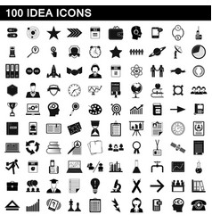 100 idea icons set simple style vector