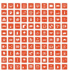 100 programmer icons set grunge orange vector image vector image