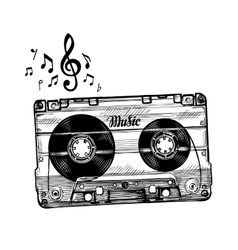Hand-drawn cassette music sketch audio tape vector