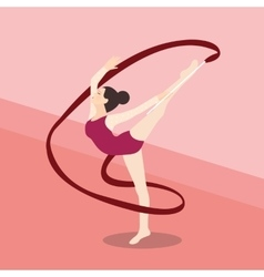 Synchronized ribbon rhytmic dance athletic young vector