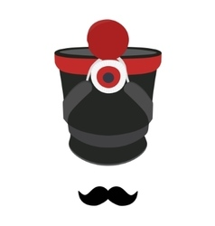 Shako hat and mustache vector
