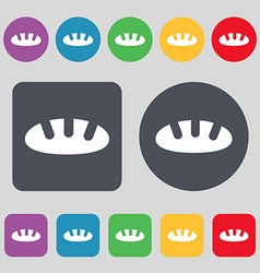 Bread icon sign a set of 12 colored buttons flat vector