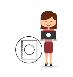 Support assitance concept girl with directory vector