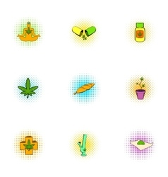 Hashish icons set pop-art style vector