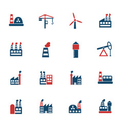 industrial building icon set vector image