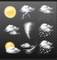Set of realistic weather icons isolated on vector