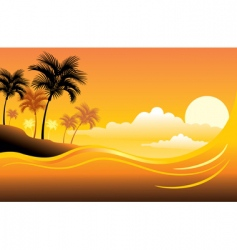 Tropical sunset seascape vector