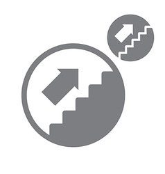 Stairs up simple single color icon isolated on vector