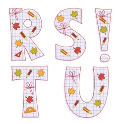 Sheet alphabet letter r s t u vector