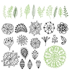 Zentangle nature collection hand drawn vector