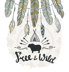 Tribal card with feathers and lettering hand drawn vector