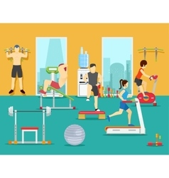 Training people in gym flat vector
