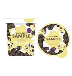 Vanilla chocolate yogurt packaging design template vector