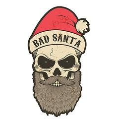 Bad santa skull vector