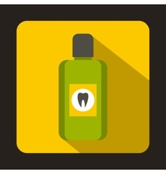 Bottle of green mouthwash icon flat style vector