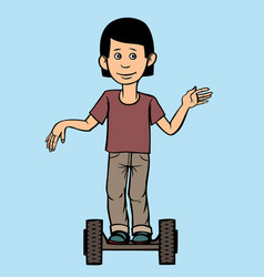 a teenager rides a scooter vector image