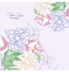 Background with color peonies and irises-04 vector