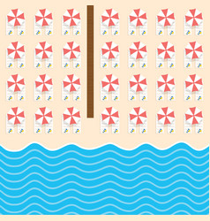 Beach stuff with deckchair and sea set vector