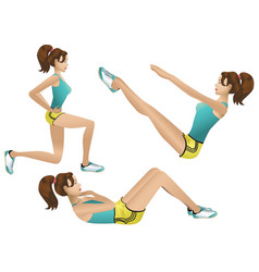 Beautiful girl making exercises vector image