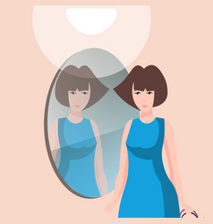 beautiful woman character with mirror vector image