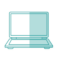 blue shading silhouette of laptop computer vector image