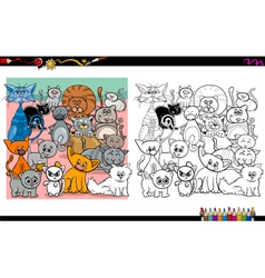 cat characters coloring page vector image vector image