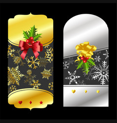 Christmas gold and silver price tags vector