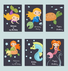 collection of cute birthday cards collection of vector image vector image
