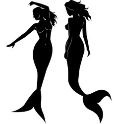 collection of mermaid silhouettes vector image