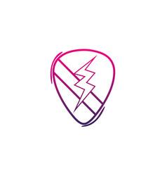 color line rock emblem with thunder symbol design vector image