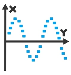 Dotted sine plot icon vector