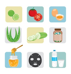 Face treatment icons set vector