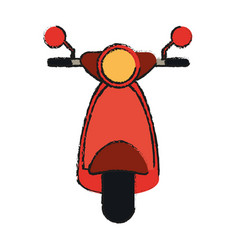 Front scooter red vespa vector