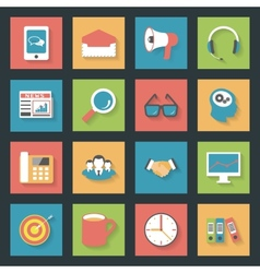 Marketing flat icons set vector image vector image
