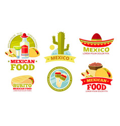 Mexican salsa food restaurant badges vector