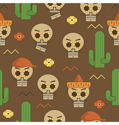 mexican skull pattern vector image vector image