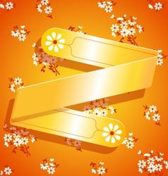 Orange floral satin ribbon background vector image