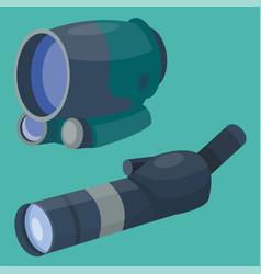 professional binoculars glass look-see spyglass vector image vector image