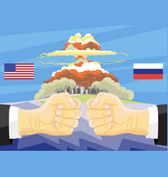Russia vs america atomic bomb on background vector